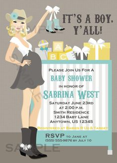 Western Cowgirl Cowboy Baby Shower Invitation by AMKParties, $11.00