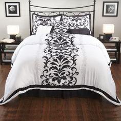 Hayden 7 Piece Comforter Set - dark brown or black? Black And White Bedspreads, Paint My Room, Interior Design Inspiration, Design Ideas, Comforter Sets, Duvet, Creative Decor, Grey Walls, My Dream Home