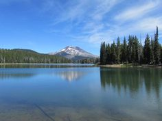 The view from the south end of Sparks Lake, with South Sister in the distance.