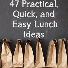 Most days I totally disregard lunch until I'm hungry. At that point, I usually just look into the fridge to see what I can find... usually I don't find much. I've often thought that having a list of practical, quick, and easy lunches would be a great resource for me to look over when I'm stumped on what to make. As a result, I have compiled a list of 47 practical, quick, easy, and inexpensive lunches to choose from whenever I really don't know what to have for lunch.