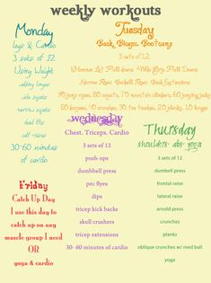 Weekly Workout Schedule - love her blog!