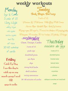 Weekly Workout Schedule - love her blog! http://pinterest.com/treypeezy http://OceanviewBLVD.com