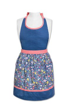 Wild Flower Apron by Lady Jayne Kitchen Queen, Bib Apron, Great Gifts For Mom, Wild Flowers, Two Piece Skirt Set, Navy, Cotton, Shelf, Hands