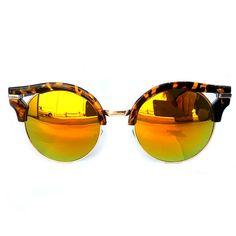 Leopard Half Horn Rimmed Mirror Lens Sunglasses (Bronze)
