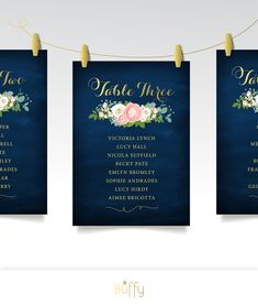 The JENNY . Seating Chart Cards Table Number & Names . Set of Printed 5 x 7 Cards . Gold Calligraphy Navy White Rose Pink Peony Ranunculus by BuffyWeddings on Etsy