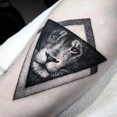 50 Eye-Catching Lion Tattoos That'll Make You Want To Get Inked - KickAss Things - geometric lion tattoo - Lion Forearm Tattoos, Lion Head Tattoos, Feather Tattoos, Dog Tattoos, Animal Tattoos, Body Art Tattoos, Cool Tattoos For Guys, Trendy Tattoos, Black Tattoos