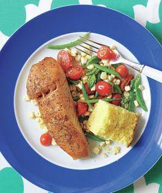 Halibut With Raw Corn, Green Bean, and Tomato Succotash recipe