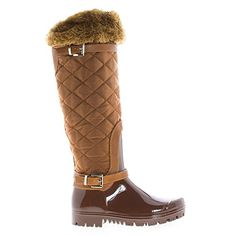 Carrie66 Tan Knee High Quilted Nylon Shaft Faux Fur Lined Rain Boots8 >>> This is an Amazon Affiliate link. Details can be found by clicking on the image.