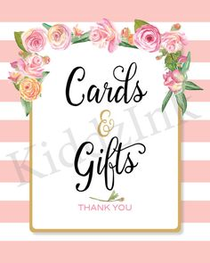 Table Sign for Cards & Gifts 8x10 Pink and White by KiddzInk