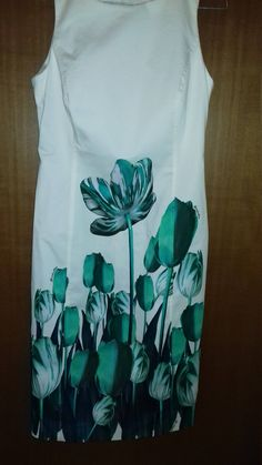 Women's Dress ***DANIELA DREI*** Vintage '90 Size 46 Color: white / green Dress , Dresses ,Olday Dress **Excellent Condition**Like a New** by AlternativeByGeorge on Etsy