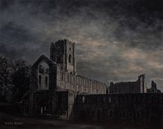 The latest painting in my 'Moonlight' series - 'Moonlight Over Fountains Abbey' oils on panel. Etsy listing at https://www.etsy.com/uk/listing/519552810/moonlight-over-fountains-abbey-original