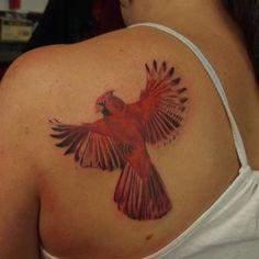Left Back Shoulder Red Ink Cardinal Tattoo For Girls