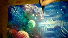 Fast spray and paintbrush space painting part 3 Space Painting, Paint Brushes, Watch, Art, Craft Art, Bracelet Watch, Clocks, Kunst, Gcse Art