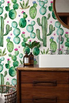 Beautiful cacti pattern vinyl material self-adhesive temporary wallpaper, easy to use!  Peel it, Stick it and LOVE it!  Add to your room…