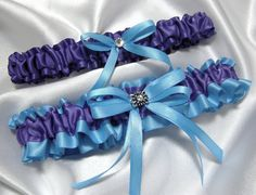 Malibu Blue and Purple Garter Set w/ Crystal by YouNiqueGarters