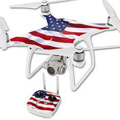 MightySkins Protective Vinyl Skin Decal for DJI Phantom 4 Quadcopter Drone wrap cover sticker skins American Flag * More info could be found at the image url.