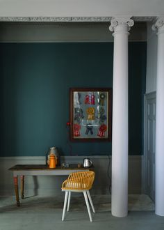 "Farrow & Ball Paint- Inchyra Blue 289.   Inchyra Blue #289 is a grayish, greenish blue that can work as a stand in for some of the currently popular darker ""new neutrals"" such as gray. Tips for use: the color will appear the most ""blue"" in west facing rooms later in the day."