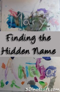 Finding the Hidden Name // white crayon // paint // name recognition // toddler activity