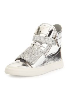 Giuseppe Zanotti Men's Silver-Stud Mirror-Leather High-Top, Mirror Argento