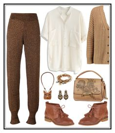 """""""Brown and cream."""" by tori-holbrook-th on Polyvore featuring Lanvin, Chicwish, Tod's, Hush Puppies, Lizzy James, Loewe, Suzanna Dai and Michael Kors"""