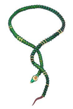 Flexible green snake necklace made from 18K gold, black rhodium sterling silver, full-cut diamonds, pink tourmalines, ruby eyes and citrine.  The body parts are made from the thorax parts of the scarabae beetle.  This necklace can be used as bracelet.