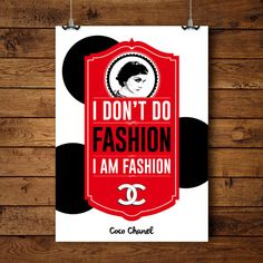 Chanel Poster Inspirational Print Coco Chanel by BitterMoonStudio