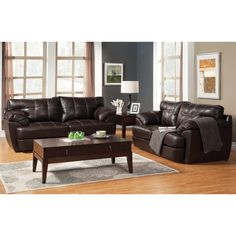 This 2-piece leatherette sofa and loveseat set offers the stylish comfort of double stitching, tufted designs, along with plush cushions suited in dark brown upholstery. Perfect for any contemporary or modern home decor.