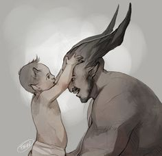 Little bull asks papa Bull if his horns will be like that one day~