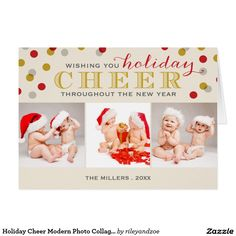 Holiday Cheer Modern Photo Collage Christmas Card