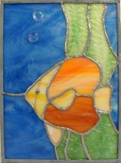 Angel Fish in Ocean Stained Glass