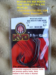 MUSTAD KVD BIG MOUTH TUBE HOOK QTY-5 X 5/0 38108-BN