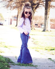pretty sure the M&M's need these.Our signature Harlow Jade denim stretch bell bottoms. OUr denim bells are a must have for your little ones wardrobe. They have an elastic pull on waistband and Little Girl Outfits, Little Girl Fashion, Fashion Kids, Toddler Fashion, Toddler Outfits, Outfits Niños, Kids Outfits, Fashion Outfits, Style Fashion