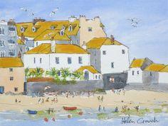 St. Ives, Cornwall, Watercolour & Ink Original Katy Harvey