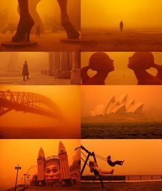 The cinematography for Las Vegas in Blade Runner 2049 was inspired by images of Sydney, Australia when a dust storm covered the city in 2009. : MovieDetails Cinematic Photography, Film Photography, Blade Runner Wallpaper, Movie Color Palette, Color In Film, Denis Villeneuve, Dust Storm, Blade Runner 2049, Movie Shots
