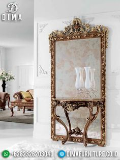 Full Ukiran Jepara Meja Konsol Cermin Hias Dinding Jati ST-0893 Oversized Mirror, Furniture, Home Decor, Decoration Home, Room Decor, Home Furniture, Interior Design, Home Interiors, Interior Decorating