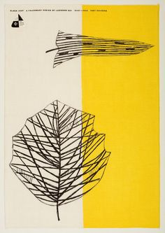 Lucienne Day's Black Leaf tea towel for Thomas Somerset (1959) exemplifies her fascination with modern art and plant life. Image courtesy of The Robin & Lucienne Day Foundation. Collection of Jill A. Wiltse and H. Kirk Brown III, Denver.