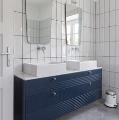 """@superfrontdotcom on Instagram: """"Infinity Blue vanity in Parallels pattern with chrome details and a white setting. Timeless! Built on two Ikea Metod cabinets, 80 cm wide…"""" Blue Vanity, Bathroom Inspiration, Corner Bathtub, Infinity, Ikea, Chrome, Building, Pattern, Cabinets"""