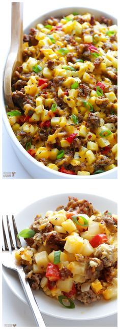 Easy Cheesy Breakfast Casserole Recipe ~ It's overflowing with sausage, eggs, hash browns and cheese