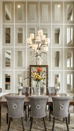 Dining Room decor ideas - Transitional style with grey and cream, full height mirrored wall is so elegant