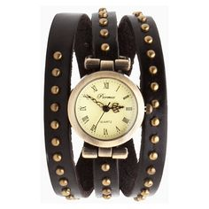 Antiqued Stud Wrap Watch (€31) ❤ liked on Polyvore featuring jewelry, watches, bracelets, accessories, bijoux, black, vegan jewelry, studded wrap watch, wrap watch and studded jewelry