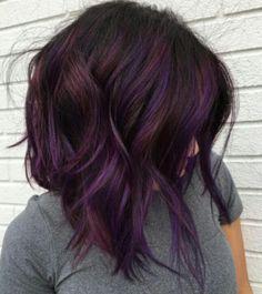 Dark brunette hair with purple highlights