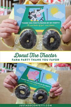 Adorable Tractor Party Favor with Donut Tires! Perfect for a Farm Party! #donuts #tractor #partyfavor #JustAddConfetti #printable #DIYpartyideas #partyideas #farmparty