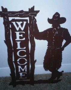Cowboy Welcome Sign Metal Home Decor Bathroom or Outdoor Western Rustic Cabin