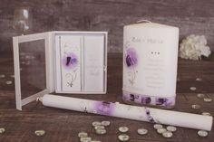 Taufkerzenset der Kollektion Love in lila Pillar Candles, Lilac, Candles, Taper Candles