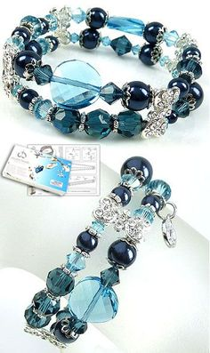 DoubleBeads Jewelry Kit Sweet Marine bracelet stretchable, smallest size ± 18cm with SWAROVSKI ELEMENTS pearls, beads and various other materials (such as metal roundels and dividers with strass)