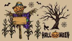 Colorful Scarecrow in corn Halloween design illustrations. Download 44 Halloween designs on www.dgimstudio.com.