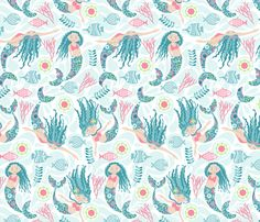 mermaid sea fabric by cjldesigns on Spoonflower - custom fabric