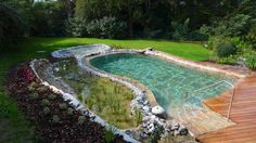Get the best around the pool landscaping Backyard Water Feature, Small Backyard Pools, Outdoor Pool, Natural Swimming Ponds, Garden Swimming Pool, Natural Pools, Garden Pond, Landscaping Around Pool, Privacy Landscaping