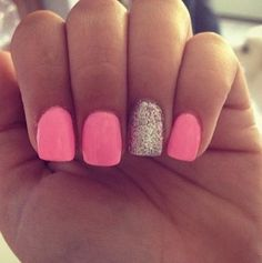 great summer color. Love the glitter on one nail.