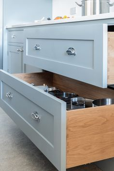 One of our favourite things is making pan drawers because we know they are so much easier than pan cupboards. Our client chose Oak with the Bone China blue from Little Greene Paint Company for these gorgeous drawers Kitchen Cabinet Makers, Kitchen Storage, Little Greene Paint Company, Deep Pan, Saucepans, Pantry Cupboard, Woks, Handmade Kitchens, Bespoke Kitchens